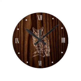 Horloge Ronde Regard du bois avec l'horloge murale de hibou