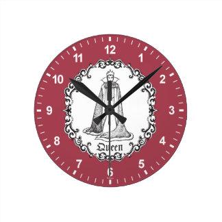 Horloge Ronde Reine mauvaise du blanc   de neige - voyou vintage
