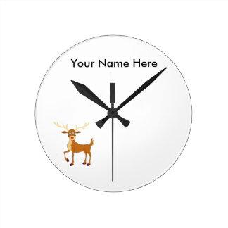 Horloge Ronde Renne de style de Rudolph
