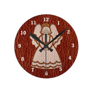 Horloge Ronde Rouge simili cuir d'ange