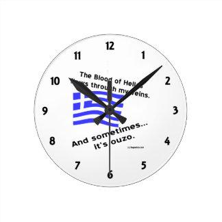 Horloge Ronde Sang des nombres de l'Hellade et d'ouzo