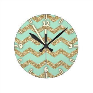 Horloge Ronde Scintillement à la mode frais d'or de Faux de