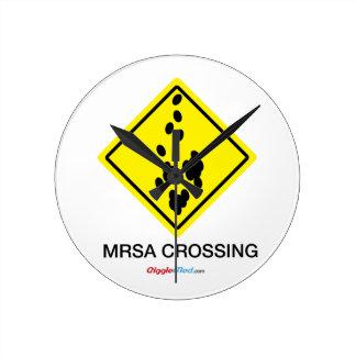 Horloge Ronde Signe de croisement de MRSA