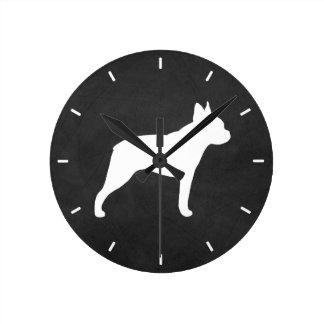 Horloge Ronde Silhouette de Boston Terrier