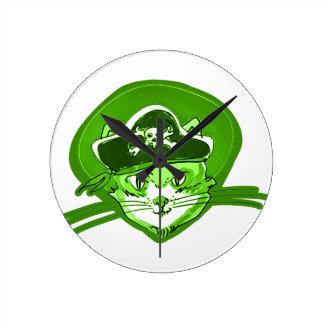 Horloge Ronde style de bande dessinée de chat de pirate