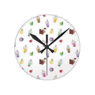 Horloge Ronde Thé de bulle de Kawaii