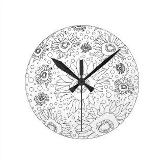 Horloge Ronde Tournesols colorant la page