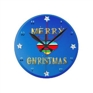 Horloge Ronde Trois ornements de Joyeux Noël