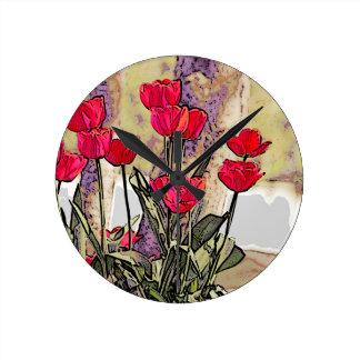 Horloge Ronde Tulipes de ressort