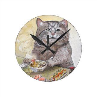 Horloge Ronde Udon de Tempura de chat de sushi