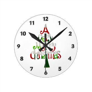 Horloge Ronde Un arbre de Noël très Joyeux