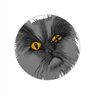 Horloge Ronde Un vecteur grincheux de chat