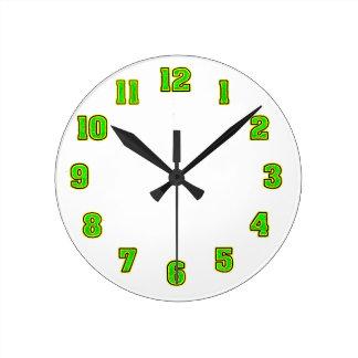 Horloge Ronde Vert dans le modèle jaune d'horloge