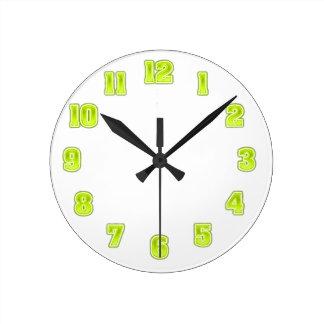 Horloge Ronde Vert de chaux dans le modèle jaune d'horloge