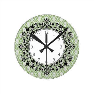 Horloge ronde (verte) florale de damassé
