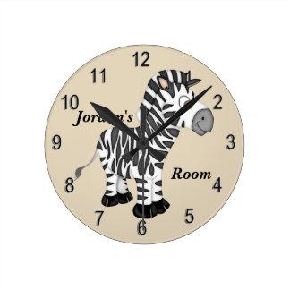 Horloge Ronde Zèbre mignon de bébé de l'horloge de l'enfant