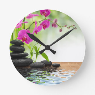 Horloge Ronde zen, paix, orchidée rose, belle, spa, guérissant,