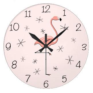 Horloge rose de nombres de flamant ronde