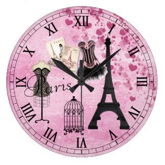 Horloge rose Girly chic de mode de Paris