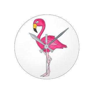Horloge rose tropicale d'oiseaux d'oiseau de