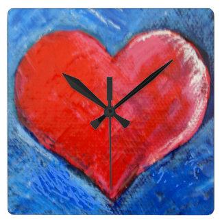 Horloge rouge de coeur