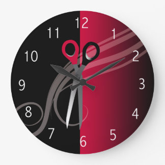 horloge rouge de salon de coiffure