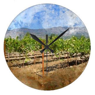 Horloge unique de vin et de raisin pour le décor à