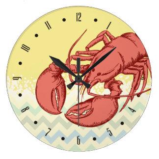 Horloge vintage de cuisine de homard d'océan fait