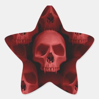 Horreur fanged gothique rouge de Halloween de crân Autocollants En Étoile