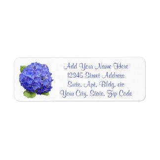 Hortensia floral étiquette d'adresse retour