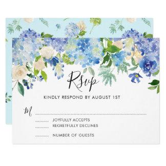 Hortensias bleus d'aquarelle épousant la carte II