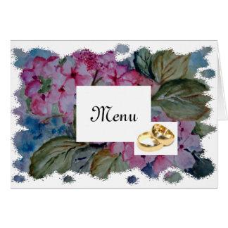 Hortensias roses - menu de mariage