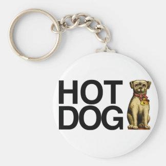 Hot-dog pour des amants d'animal familier porte-clé rond