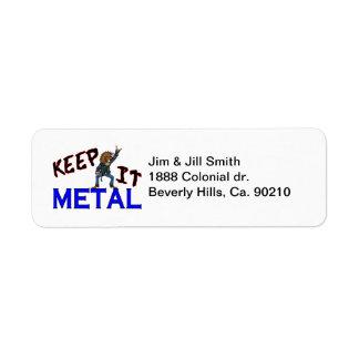 Houd het Metaal Etiket