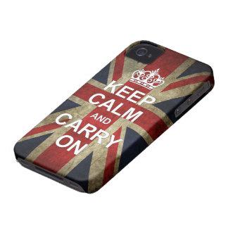 Houd Kalm en draag - met Britse Vlag iPhone 4 Hoesje