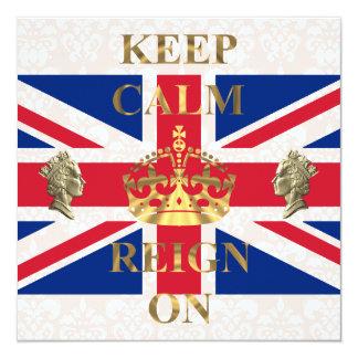 Houd kalm en regeer op koninklijk jubileum 13,3x13,3 vierkante uitnodiging kaart