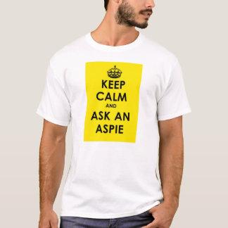 Houd Kalm en vraag een Aspie - geel paneel zwarte T Shirt