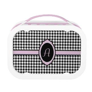 houndstoothpatroon met monogram in roze lunchbox