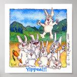 Hourra ! ! ! - Copie mignonne d'affiche de lapins  Poster