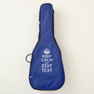 Housse De Guitare Gardez le calme et votre texte sur le bleu marine