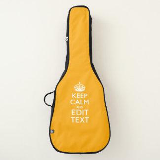 Housse De Guitare Gardez le calme et votre texte sur le jaune de