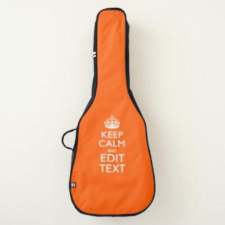 Housse De Guitare Gardez le calme et votre texte sur l'orange