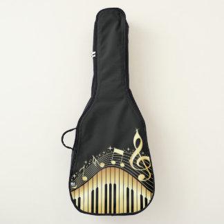 Housse De Guitare Or abstrait et conception noire de notes de