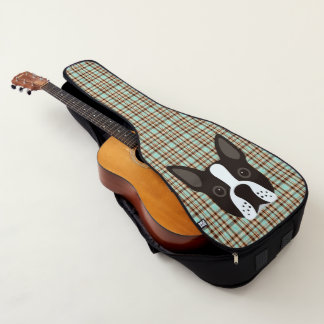 Housse De Guitare Plaid de tartan de chiot de Boston Terrier