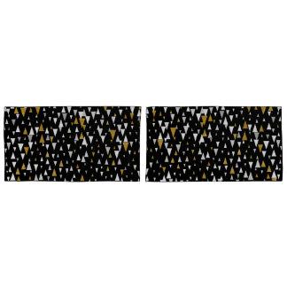 Housse D'oreillers Art moderne de triangle - or noir