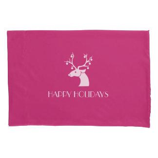 Housse D'oreillers BONNES FÊTES renne de Noël rose et blanc