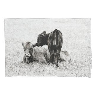 Housse D'oreillers Caisse noire et blanche de bébé de veau de coussin