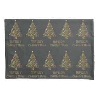 Housse D'oreillers Caisse noire grise de coussin d'or d'arbre de