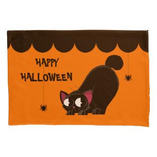Housse D'oreillers Chat noir et araignée de Halloween