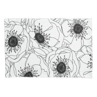Housse D'oreillers Copie noire et blanche de pavot des années 1980 de